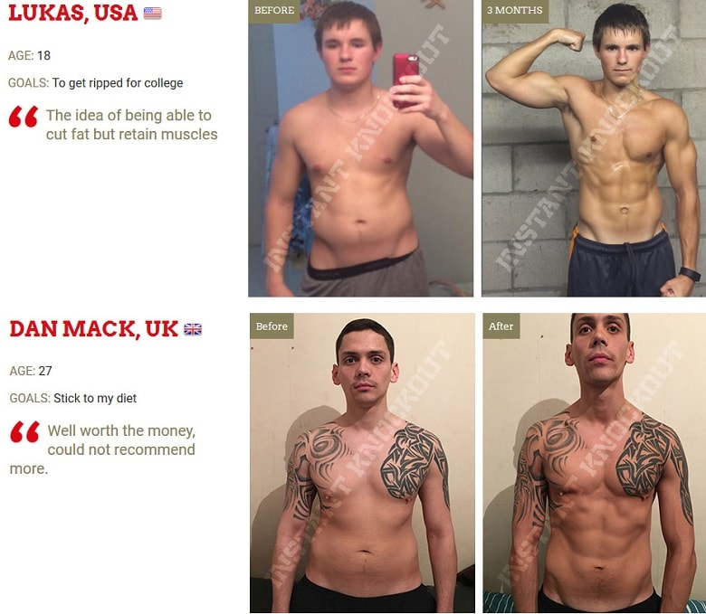 Users results and testimonials